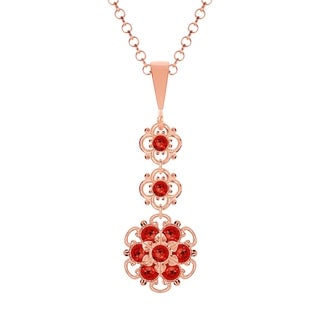 Lucia Costin .925 Silver Red Crystal Pendant