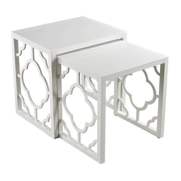 Gloss white nesting tables set of 2 free shipping for White nesting coffee table