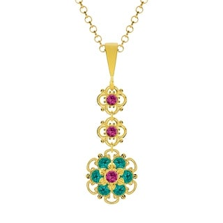 Lucia Costin .925 Silver Fuchsia Turquoise - Green Crystal Pendant