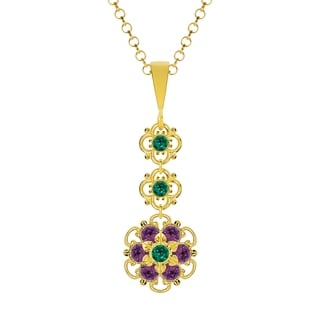 Lucia Costin Silver Green Violet Crystal Pendant