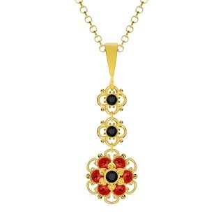 Lucia Costin Silver Black Red Crystal Pendant