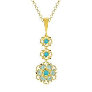 Lucia Costin Silver Turquoise Blue Crystal Pendant