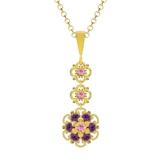 Lucia Costin Silver Violet Light Pink Crystal Pendant