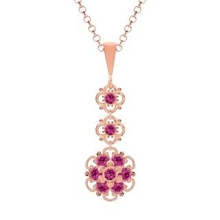 Lucia Costin Silver Fuchsia Crystal Pendant