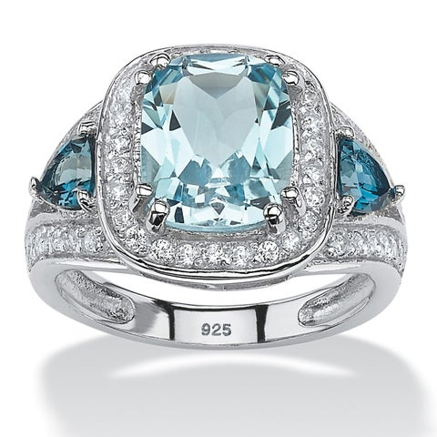 Platinum over Sterling Silver Blue Topaz and Cubic Zirconia Ring