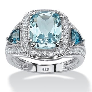 PalmBeach Platinum over Sterling Silver 4 1/3ct Cushion-cut Sky and London Blue Topaz Cubic Zirconia Halo Ring