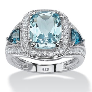 Platinum over Sterling Silver 4 1/3ct Cushion-cut Sky and London Blue Topaz Cubic Zirconia