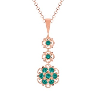 Lucia Costin Silver Turquoise Green Crystal Pendant