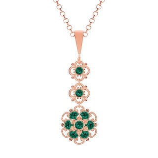 Lucia Costin Silver Green Crystal Pendant