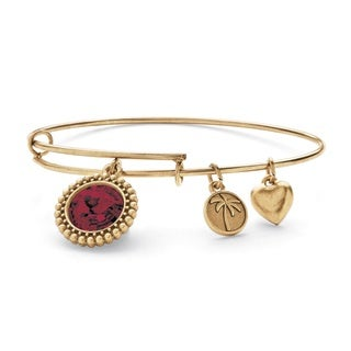 PalmBeach Antique Goldtone Birthstone Charm and Swarovski Crystal Bangle Bracelet Color Fun