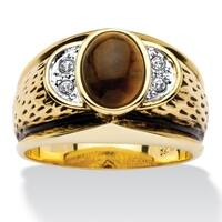 Antiqued 14k Yellow Goldplated Men's Oval-Shaped Genuine Tiger's Eye Crystal Accent Ring