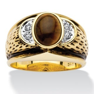 Antiqued 14k Yellow Goldplated Men's Oval-Shaped Genuine Tiger's Eye Crystal Accent Ring (3 options available)