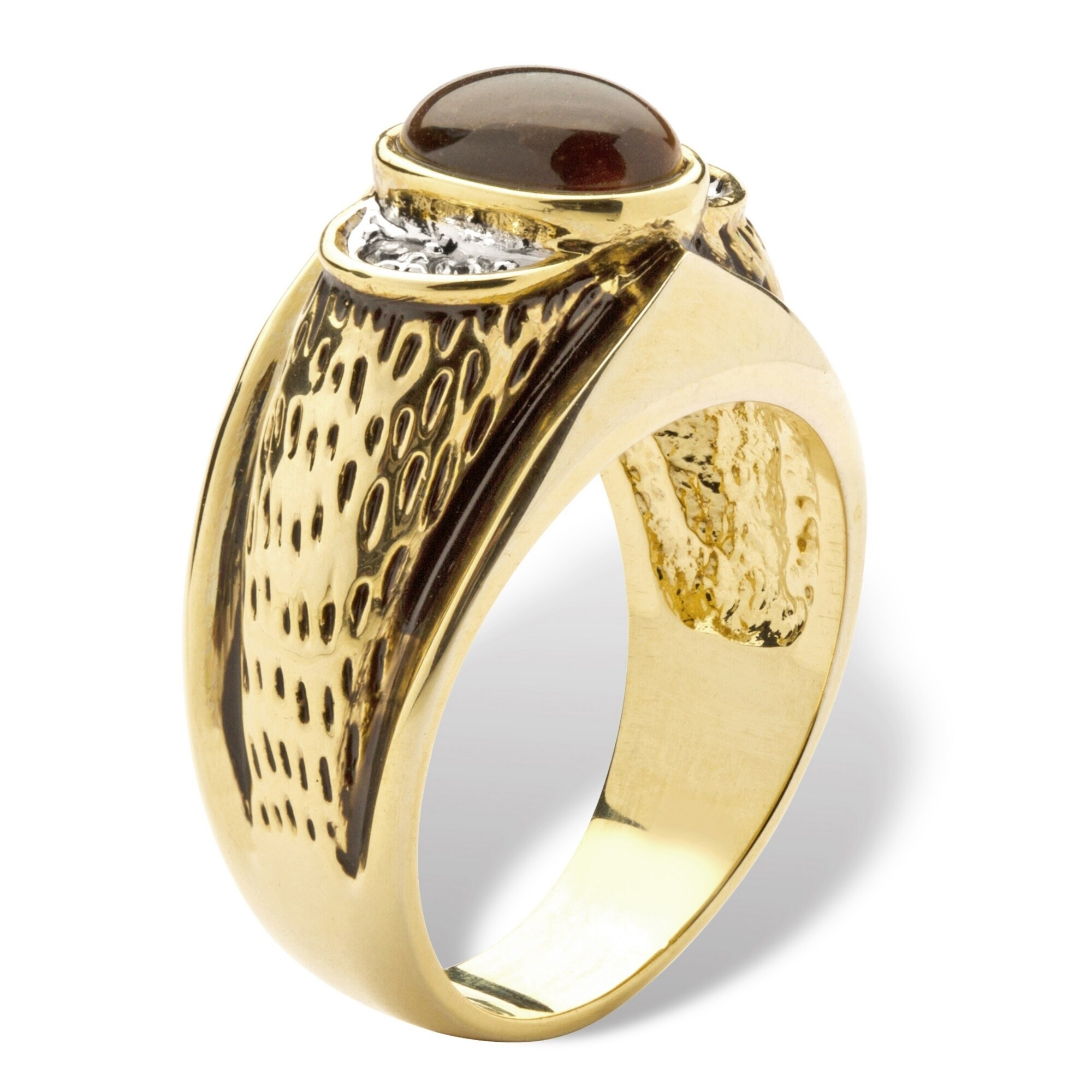 Sleek Tiger Eye Oval 18K Gold Overlay Mens Ring Size 11