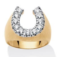 18k Gold over Sterling Silver Men's 1 1/10ct Round Cubic Zirconia Horseshoe Ring