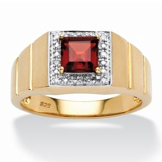 18k Gold over Sterling Silver Men's 1 1/3ct Square-cut Garnet Diamond Accent Ring