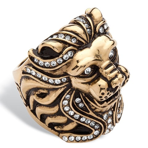 Gold Plated Stainless Steel Men's Lion Ring Made With Swarovski Elements