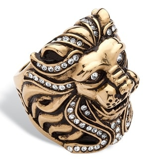 PalmBeach Gold Plated Stainless Steel Men's Lion Ring Made With Swarovski Elements