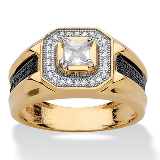 PalmBeach 14k Yellow Gold over Sterling Silver Men's 7/8ct Square-cut Cubic Zirconia Halo Ring