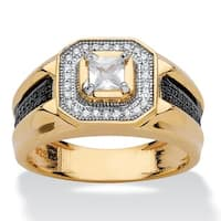 14k Yellow Gold over Sterling Silver Men's 7/8ct Square-cut Cubic Zirconia Halo Ring