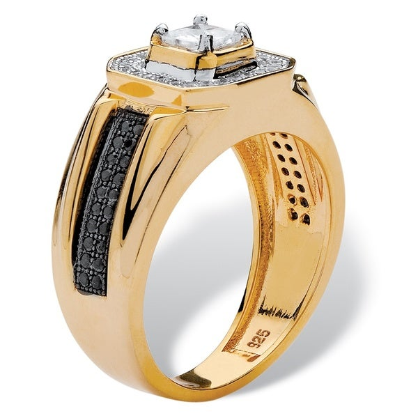 Mens 14K Yellow Gold over Sterling Silver Square Cut Cubic Zirconia Ring