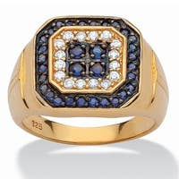 14k Yellow Gold over Sterling Silver Men's 1 1/3ct Blue Sapphire and Cubic Zirconia Ring