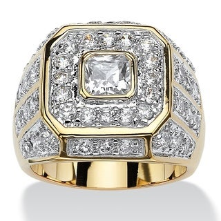 PalmBeach 14k Goldplated Men's 2 1/3ct Square-cut and Round Cubic Zirconia Octagon Grid Ring