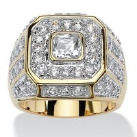 Goldplated Men's 2 1/3Ct Square-Cut and Round Cubic Zirconia Octagon Grid Ring