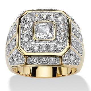14k Goldplated Men's 2 1/3ct Square-cut and Round Cubic Zirconia Octagon Grid Ring