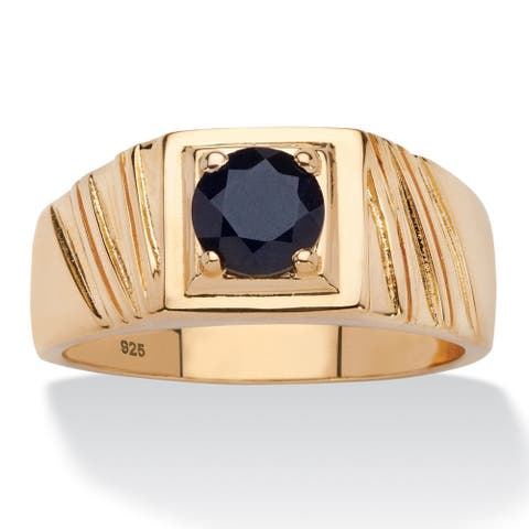 14k Gold over Sterling Silver Men's 1 2/5ct Round Black Sapphire Ring