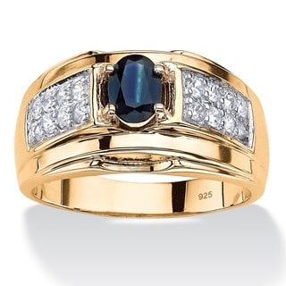 14k Gold over Sterling Silver Men's 1 1/2ct Oval-cut Blue Sapphire and Cubic Zirconia Ring