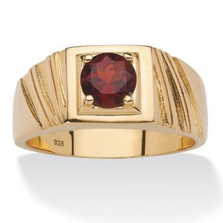 14k Gold over Sterling Silver Men's 1 2/5ct Round Red Garnet Ring