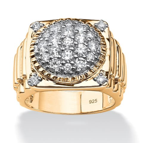 14k Gold over Sterling Silver Men's 1 5/8ct Round Pave Cubic Zirconia Step-top Cluster Rin