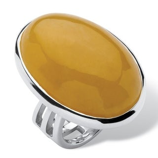 PalmBeach Sterling Silver Yellow Jade Oval Cabochon Cocktail Ring Naturalist