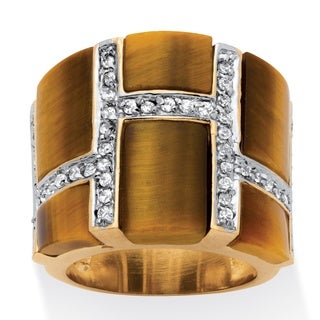 PalmBeach 14k Yellow Goldplated 1/2ct Emerald-cut Tiger's Eye Cubic Zirconia Ring Naturalist