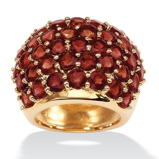 PalmBeach 14k Yellow Goldplated 11 3/4ct Round Garnet Dome Ring