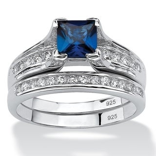 Platinum over Silver Blue Sapphire and Round CZ Bridal Ring Set