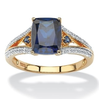 PalmBeach 2.01 TCW Cushion-Cut Lab Created Blue Sapphire and CZ Ring in 18k Yellow Gold over Sterling Silver Classic CZ