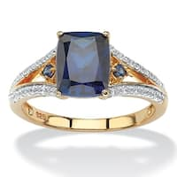 2.01 TCW Cushion-Cut Lab Created Blue Sapphire and CZ Ring in 18k Yellow Gold over Sterlin
