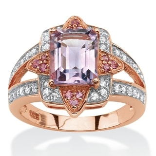 PalmBeach Rose Gold over Sterling Silver 2 3/4ct Emerald-cut Amethyst and Pink Rhodolite Ring