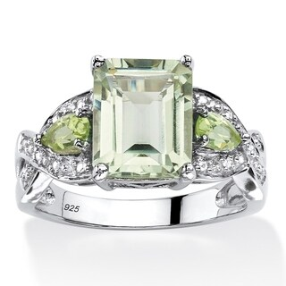 Platinum over Sterling Silver 3 2/5ct Emerald-cut Green Amethyst Ring