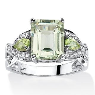 PalmBeach Platinum over Sterling Silver 3 2/5ct Emerald-cut Green Amethyst Ring