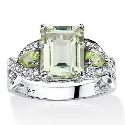 Platinum over Sterling Silver Amethyst and Peridot Ring