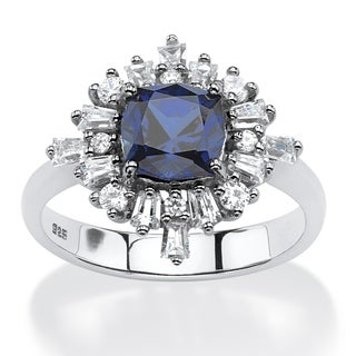 PalmBeach 2.87 TCW Lab Created Blue Sapphire Vintage-Style Ring in Platinum over .925 Sterling Silver Glam CZ