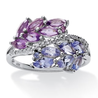 Sterling Silver 1 2/5ct Marquise-cut Amethyst and Tanzanite Leaf Motif Ring