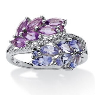 Platinum over Sterling Silver Amethyst with Tanzanite Ring