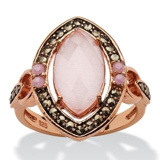 PalmBeach Rose Gold over Sterling Silver Pink Cat's Eye and Black Marcasite Marquise Halo Ring Color Fun