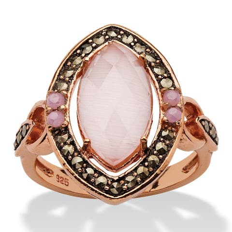 Rose Gold-plated Silver Cat's Eye and Cubic Zirconia Marcasite Ring