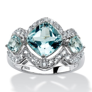 Platinum over Sterling Silver 4 2/5ct Blue and White Topaz Ring