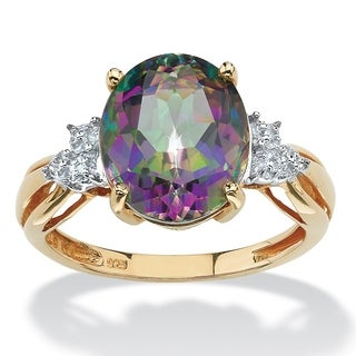 18K Gold over Sterling Silver Mystic Fire Topaz and Diamond Accent Ring