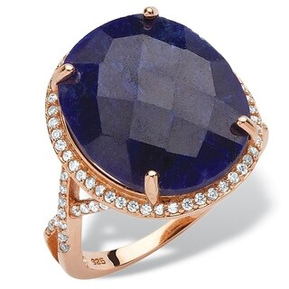 PalmBeach Rose Gold over Sterling Silver 15 7/8ct Checkerboard-cut Blue Sapphire Halo Ring